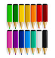 set of color pencils with drop shadow isolated on vector image
