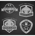 Set of emblem bodybuilding and fitness vector image