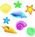 set of in a cartoon style sea vector image