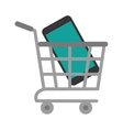 shopping cart online mobile phone green screen vector image