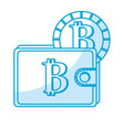 silhouette bitcoin symbon in the wallet with coin vector image vector image