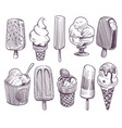 sketch ice cream different bowls with ice cream vector image