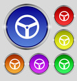 Steering wheel icon sign Round symbol on bright vector image