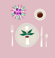tableware on lilac background vector image