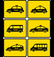 taxi cars set on yellow buttons vector image vector image
