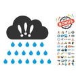 Thunderstorm Rain Cloud Icon With 2017 Year Bonus vector image