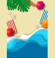 tropical beach background top view paper cut vector image