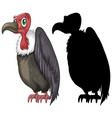 vulture characters and its silhouette on white vector image vector image