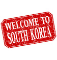 welcome to South Korea red square grunge stamp vector image vector image
