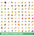 100 food and kitchen icons set isometric 3d style vector image