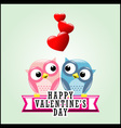 Cute romantic owls and hearts vector image