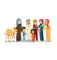 cartoon arab family characters camel set vector image