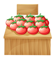 A tomato stand with an empty wooden signboard vector image vector image