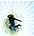 artistic man jumping poster vector image vector image