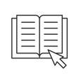 book and arrow cursor online education concept vector image