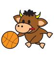 Bull playing basketball vector image