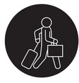 business traveler walks black concept icon vector image vector image