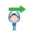 businessman character holding up arrow pointing vector image vector image