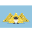 Businessman sitting with a pile of gold bars vector image vector image