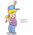 Cartoon girl hitting a baseball vector image vector image