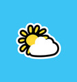 cartoon sticker with sun and cloud vector image