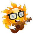cartoon sun character playing a guitar vector image