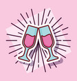 champagne toast cups cartoon style vector image