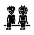 children happy sitting on bench boy and girl ico vector image