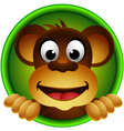 cute monkey head cartoon vector image vector image