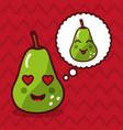 cute pear kawaii fruit with speech bubble vector image vector image