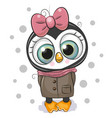 cute penguin girl on a white background vector image vector image
