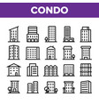 dwelling house condo linear icons set vector image vector image