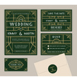 Emerald green art deco wedding invitation template vector image vector image