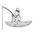 fisherman in boat in black and white vector image vector image