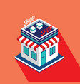 flat isometric building icon of store shop vector image vector image