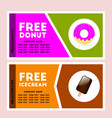 free donut and icecream coupon vector image vector image