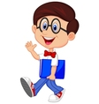 Funny geek cartoon with big glasses in white shirt vector image vector image