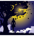Girl on swing silhouette at night vector image vector image