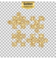 Gold glitter icon of puzzle isolated on vector image