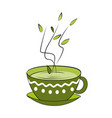 green tea cup hot smelling tea in ornamented cup vector image