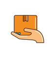 hand holding cardboard box cargo delivery line and vector image