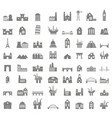 icons set with buildings vector image