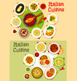 italian cuisine tasty lunch dishes icon set design vector image vector image