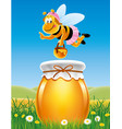 jar of honey in a meadow with bees and flowers vector image