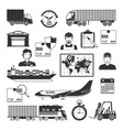 logistic and delivery black icons set vector image vector image