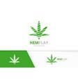 marijuana leaf logo combination hemp vector image vector image