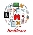 Medical and healthcare icons arranged into circle vector image