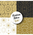 Merry christmas pattern set gold nature holiday vector image vector image