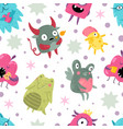 monsters seamless pattern funny incredible vector image