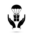 package flying down with parachute vector image vector image